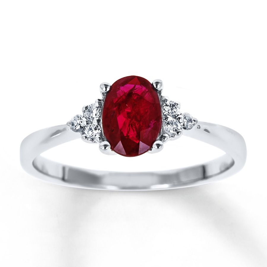 Natural Ruby Ring 1/10 ct tw Diamonds 10K White Gold | BLING ...