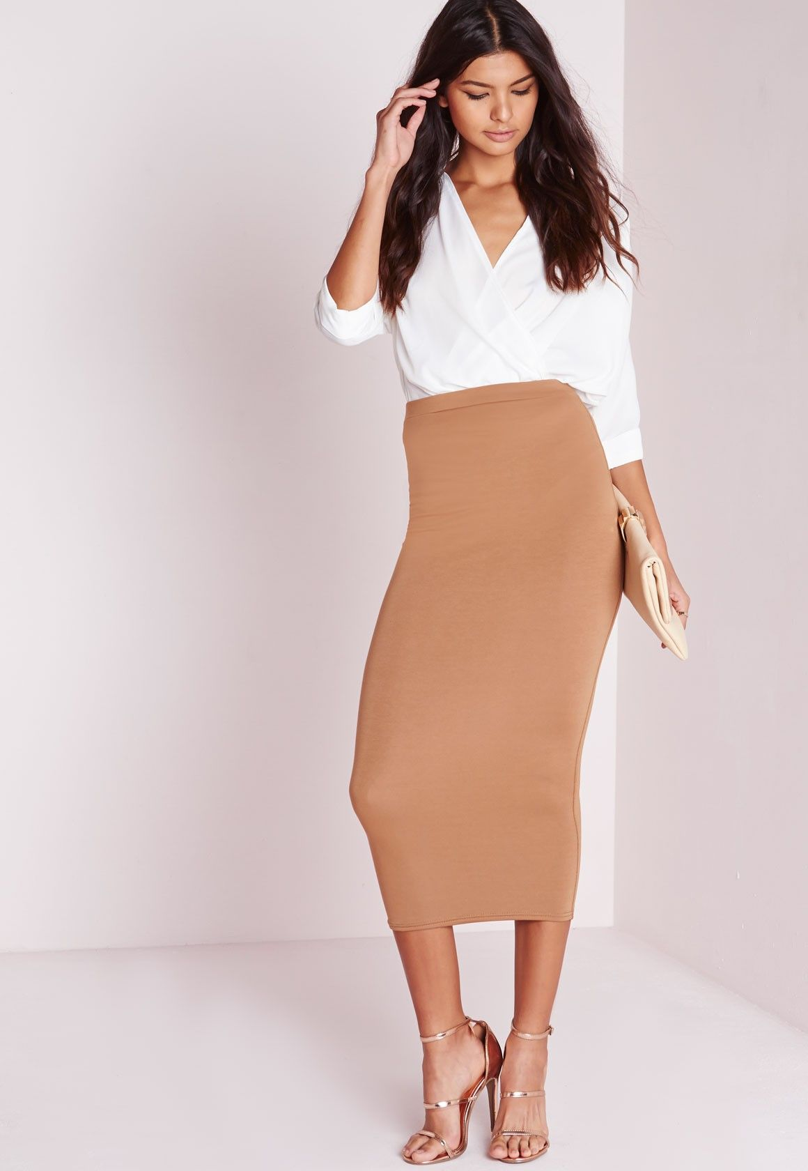 013976548de Missguided - Longline Jersey Midi Skirt Camel what about dressing for  working 9 to 5