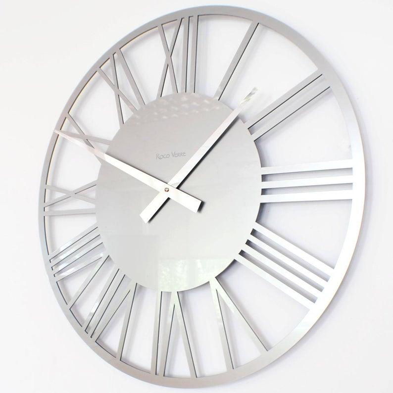 Roco Verre Gloss Acrylic Skeleton Roman Wall Clock Large Etsy In 2020 Silver Wall Clock Contemporary Wall Clock Wall Clocks Living Room