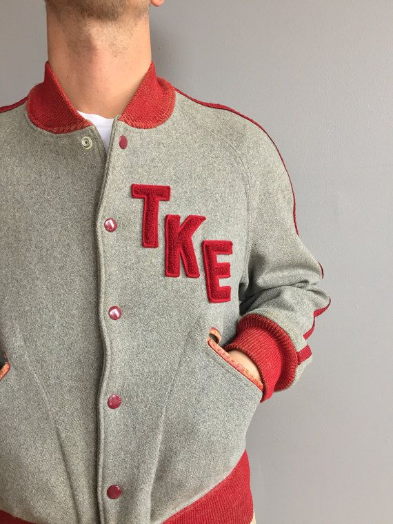1950s grigio lana Varsity Jacket TKE con accenti di MidNorthMerc
