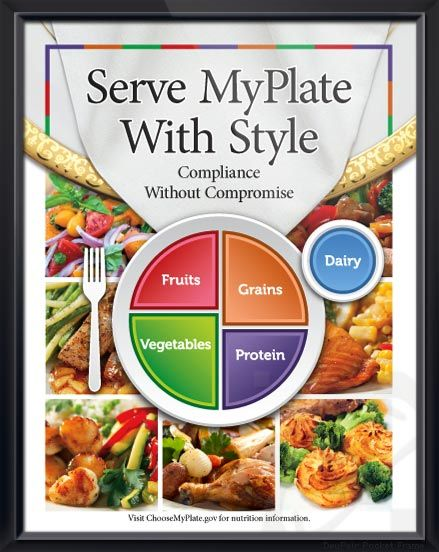 Serve myplate with style exclusive poster displays seven delicious serve myplate with style exclusive poster displays seven delicious plates of healthy food with large myplate forumfinder Gallery