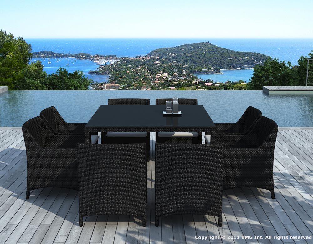 Ensemble repas 8 places table et fauteuils en résine tressée noire ...