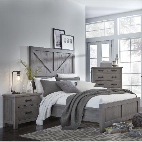 Gray Rustic Contemporary Queen Bed - Austin | Rustic ...
