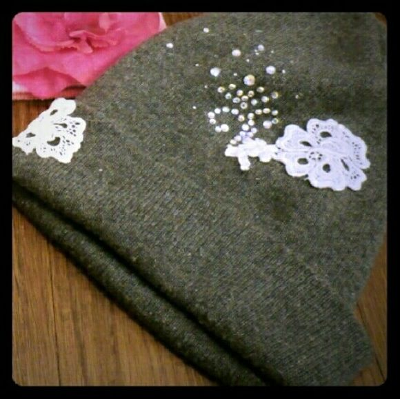 Home decorated Winter beanie A fun winter hat with Lace and crystals Accessories Hats