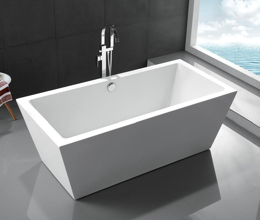 67 Quot White Acrylic Tub Contemporary Straight Lines