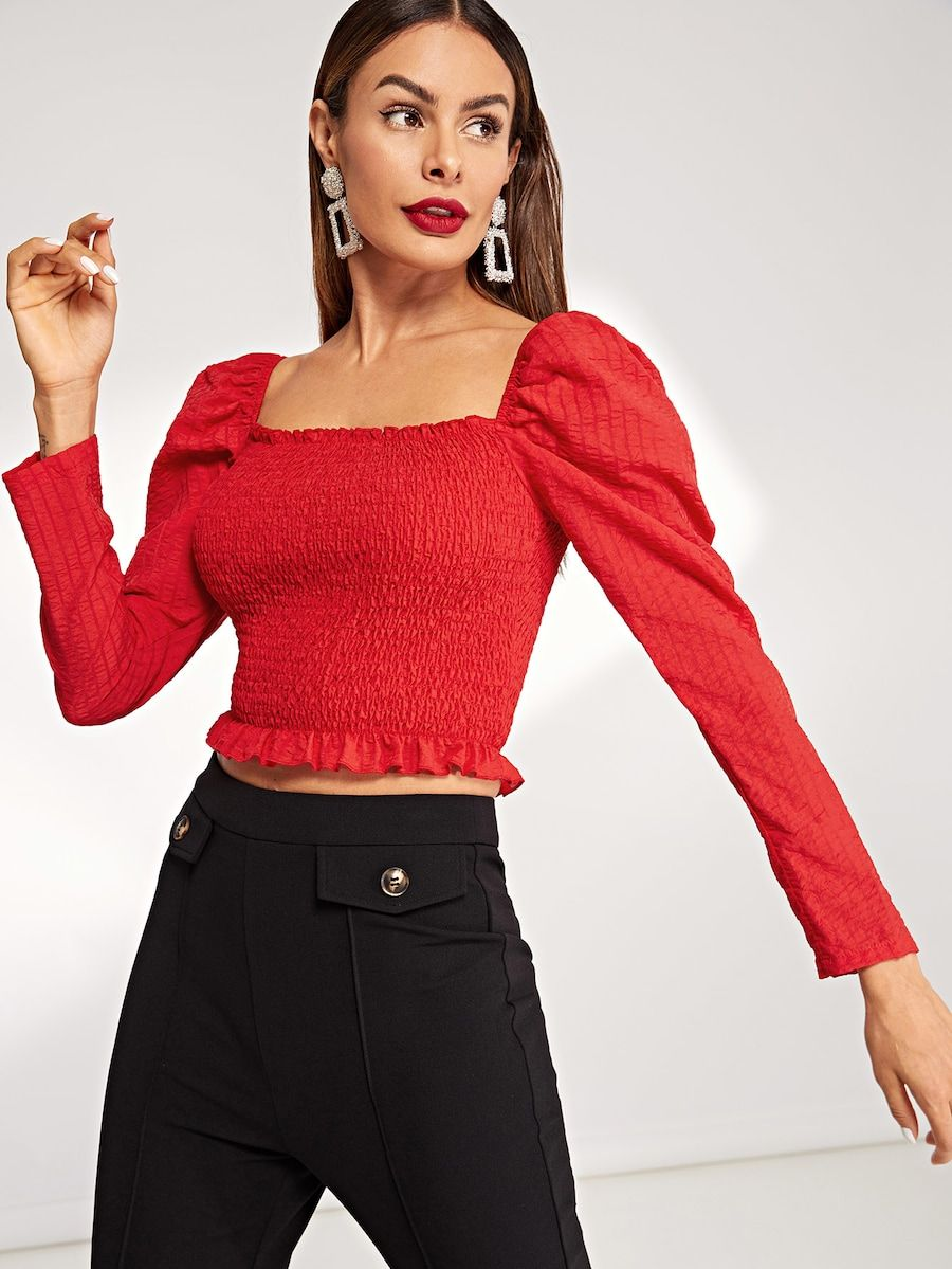 702b965ef0 Square Neck Shirred Panel Crop Top -SheIn(Sheinside) | THINGS I WANT ...