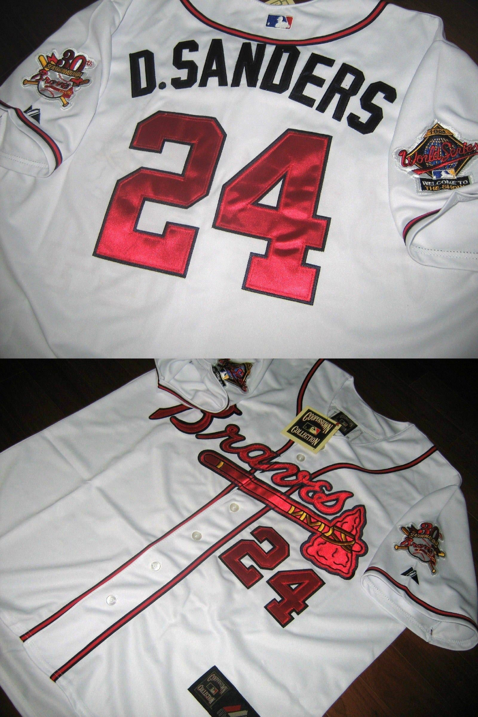 Baseball Mlb 24410 Brand New Atlanta Braves Cooperstown 24 Deion Sanders Majestic Jersey White Buy It Now Only 52 99 Mlb Baseball Atlanta Braves Braves
