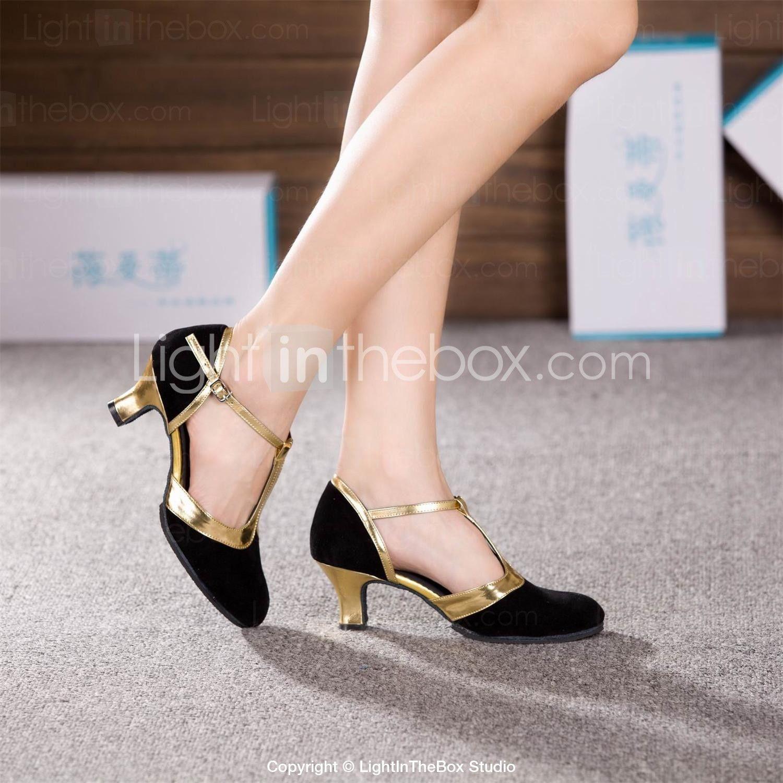 [$14.99] Per donna Danza moderna Liscio Scamosciato Tacchi Pizzo Tacco  cubano Black and Gold Marrone Royal Blue 2