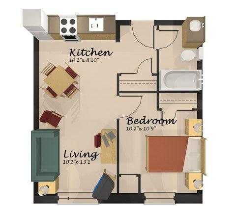 One Bedroom Floor Plans  Google Search  Home Addition Fair 1 Bedroom Apartment Design Ideas Design Inspiration