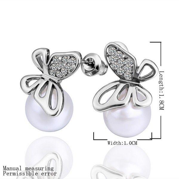 18k Silver Gold Crystal Butterfly Pearl Earrings for US$25.99 in Pearl Earring - AEKK
