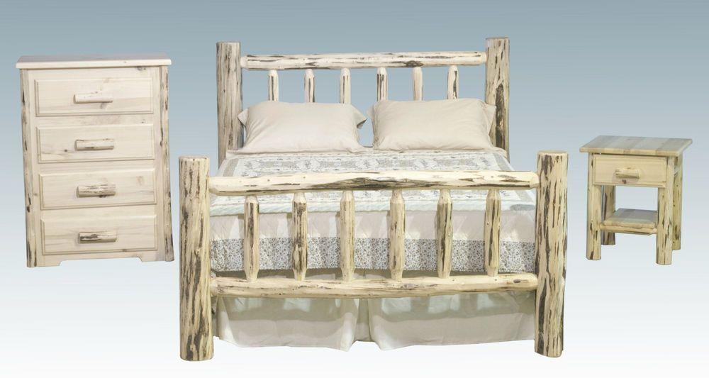 Log Bedroom Set Amish Made Rustic Queen Bed Frame Dresser and ...