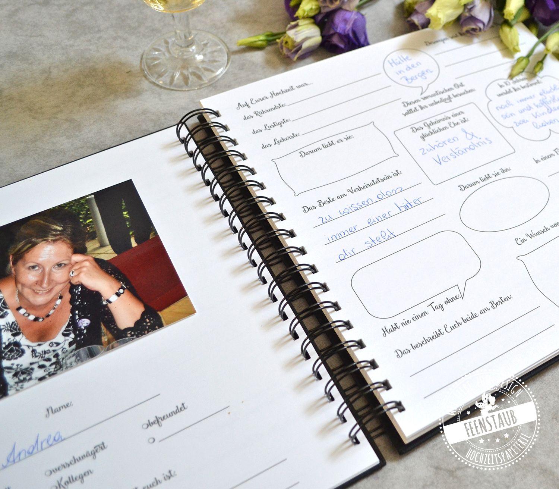 Gastebuch Fur Hochzeit Mit Fragen Personalisierbar Feenstaub At Shop In 2020 Gastebuch Hochzeit Hochzeitsgastebuch Hochzeit