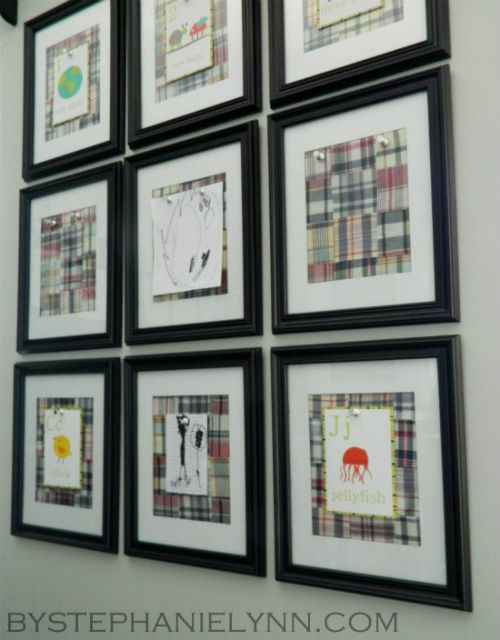diy magnetic frame gallery wall to display childrens art work