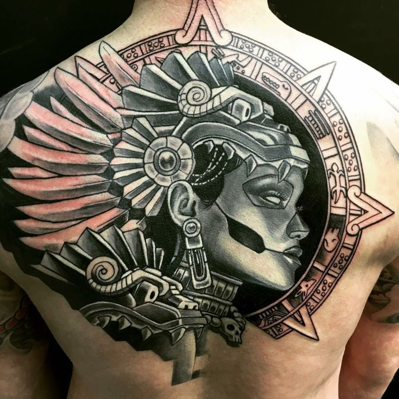 maya tattoo hand indianer r cken uhr tatoo tatuajes. Black Bedroom Furniture Sets. Home Design Ideas