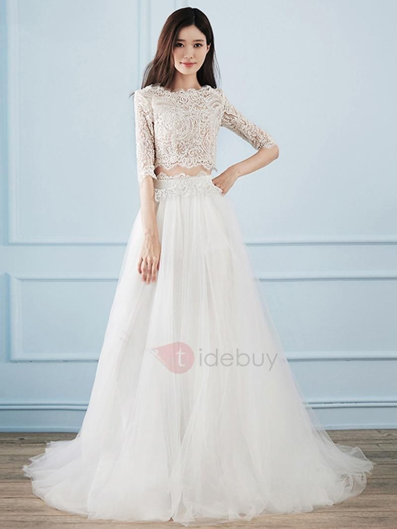 Tidebuy tidebuy half sleeves lace two piece wedding dress