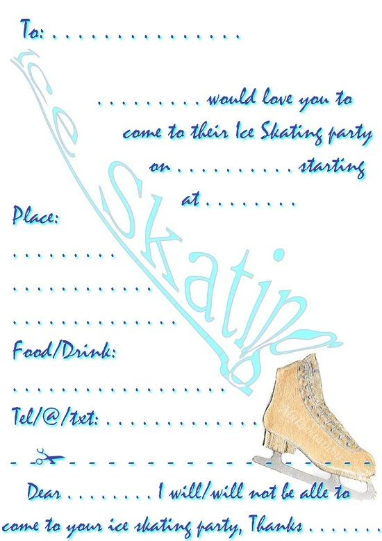 skating party invitations free printables