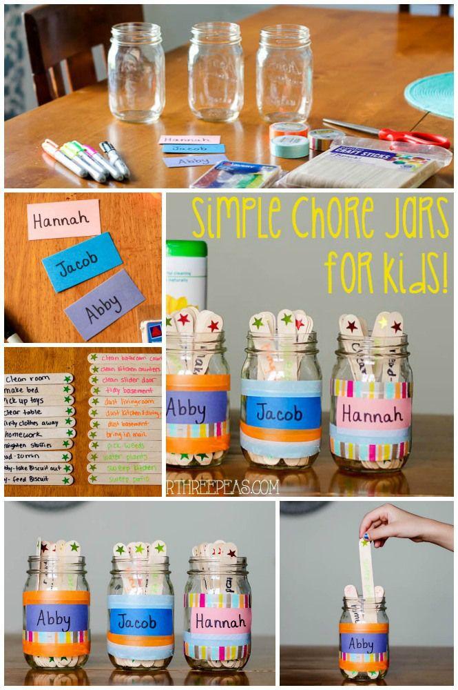 Simple Chore Jars For Kids Our Three Peas Kids Rewards Chores For Kids Chore Jar