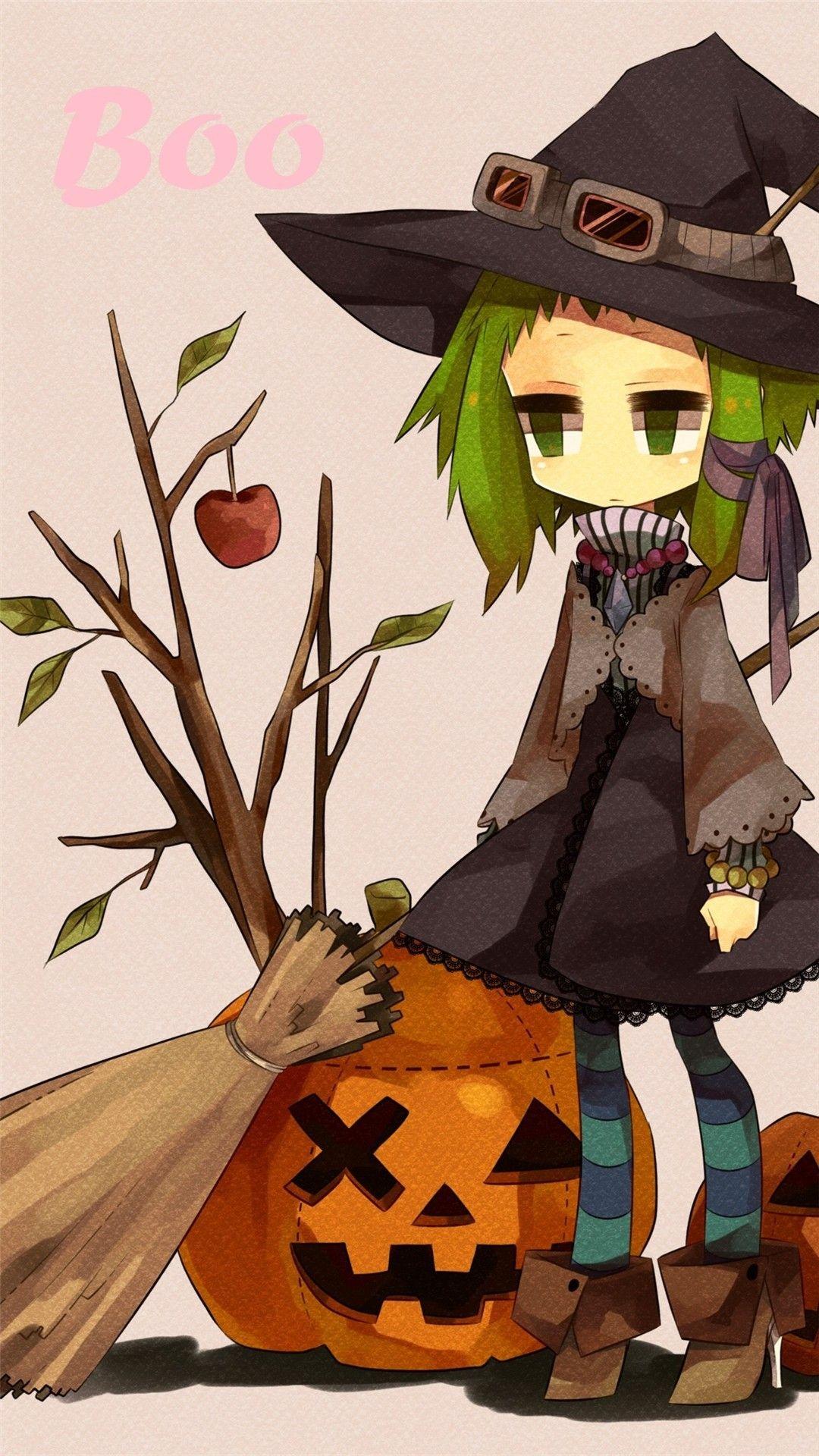 Halloween BOO iPhone Wallpaper girl, witch hat, broom