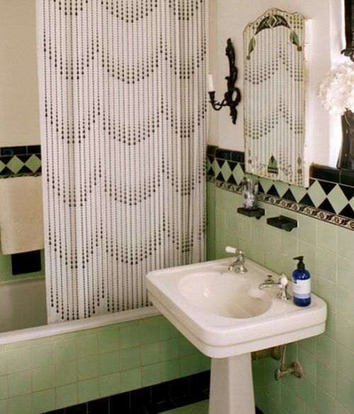 Art Deco bathroom in mint green, cream, & black. #bathroom #art ...