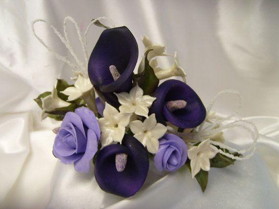 Elegant Sugar Flowers Sugar Gumpaste Elegant Royal Purple Calla Lily And Roses And Jasmine Purple Calla Lilies Sugar Flowers Purple Black Wedding