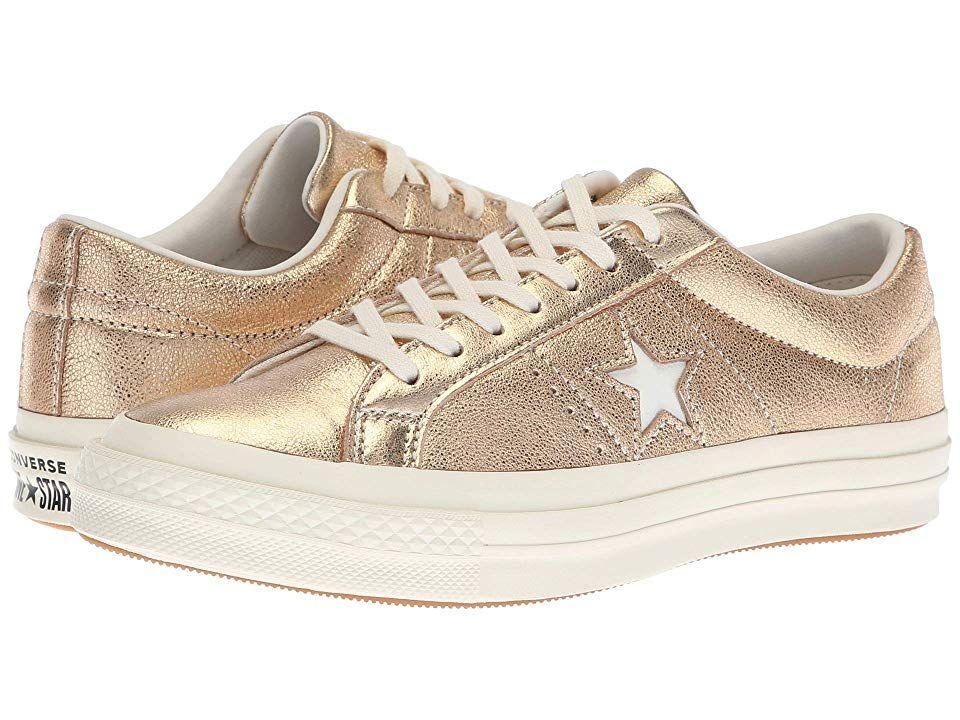 5ebb5c0b4c2bb2 Converse One Star Heavy Metallic Leather Ox Shoes Gold Egret Egret ...