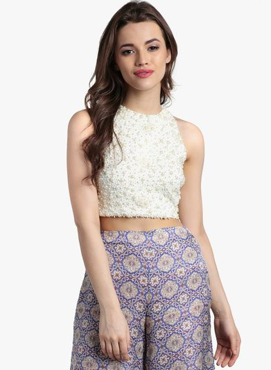 8630b2cf3aadf Divaat Off White Embellished Crop Top for Women  looksgud  Divaat  White  Crop  Top