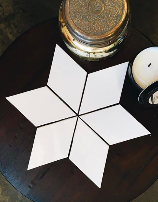Medium Diamonds 11 Deco White 11 Deco White Diamond Tile Handmade Ceramic Tiles Tile Layout