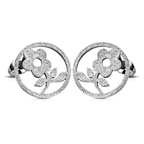 Stainless Steel Sandblasted Cutout Flower Circle Stud Earrings pair  ERR714 >>> You can get additional details at the image link. Note:It is Affiliate Link to Amazon.