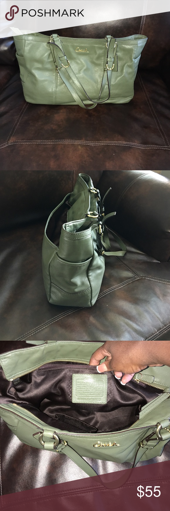 Coach bag Dark green, has side pockets, inside is very clean No Stains, gold details, could even work as a diaper bag. Coach Bags Shoulder Bags