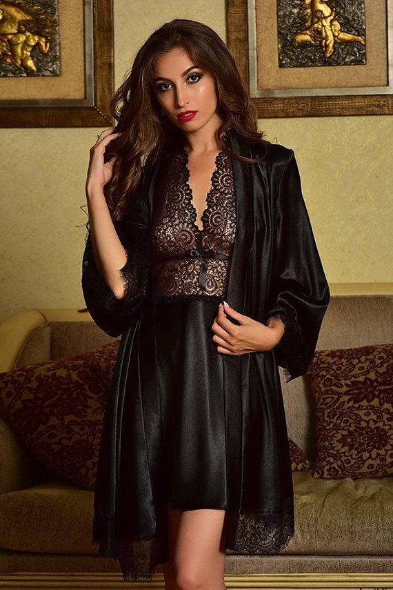 42281c54ab8 Black nightgown and robe Peignoir set Satin nightgown Robe and gown set  Bridal nightgown Kimono robe