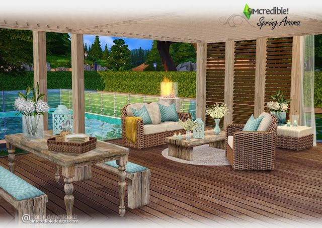 The Best Spring Aroma Outdoor Set By Simcredible Designs Sims 4 Houses Sims 4 Sims 4 Backyard Ideas