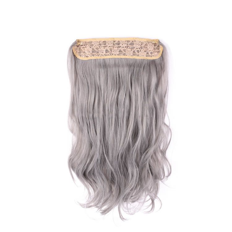 20 inch Silver Grey Hair Synthetic Flip In Hair Extensions Natural ...