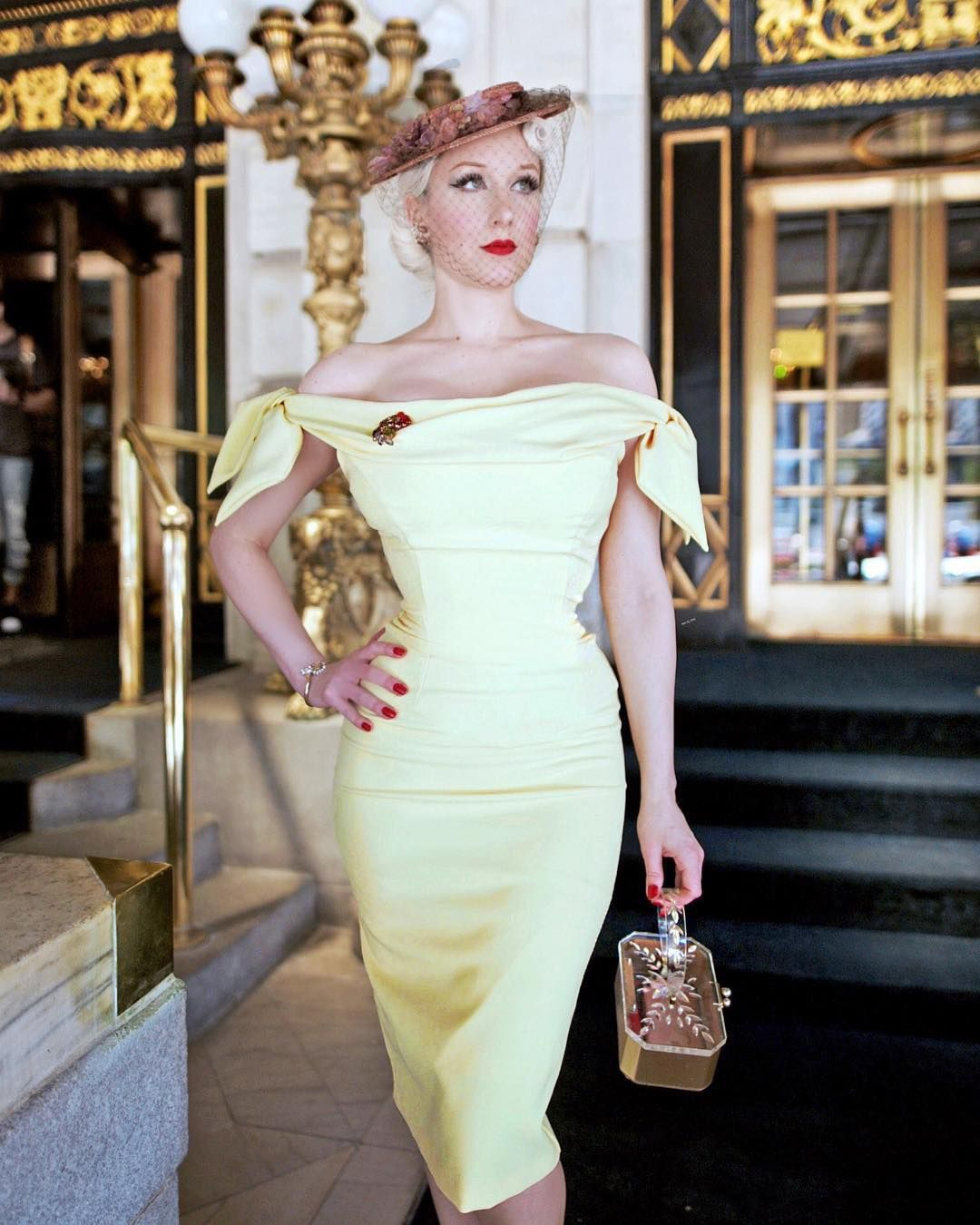 2681779f0cb5 Rachel Ann Jensen looks iconic wearing her Tilly Off The Shoulder Bow  Pencil Dress in lemon while out for lunch in New York. #vintage #style  #fashion #retro ...