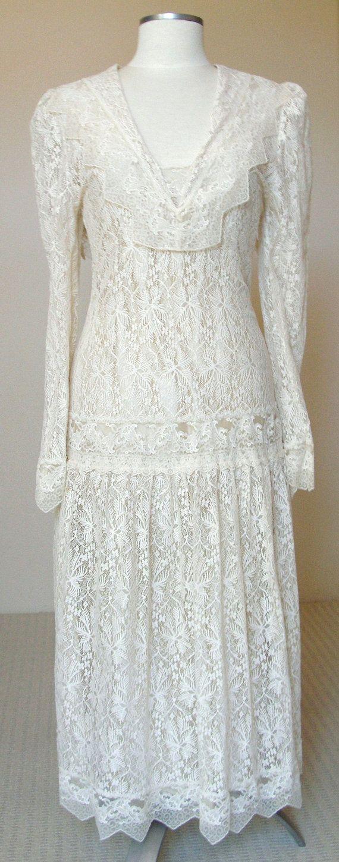 Vintage us flapper dress longsleeve wedding dress vintage lace