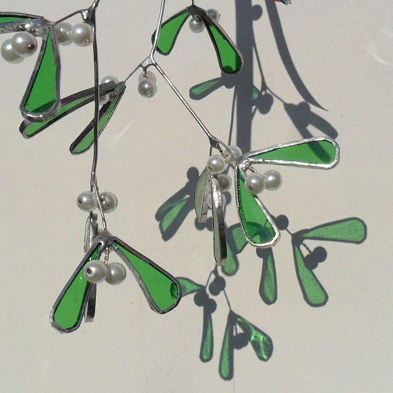 Christmas Mistletoe Sprig, Stained Glass Mistletoe Sprig, Mistletoe Sprig, 3D Mistletoe Decoration - Made To Order. £30.00, via Etsy.