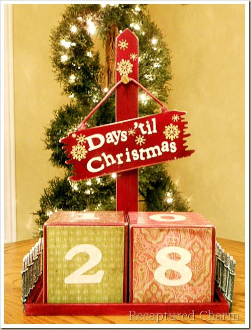 DIY Christmas Calendar with Blocks, Sign,  a Mini Fence holiday