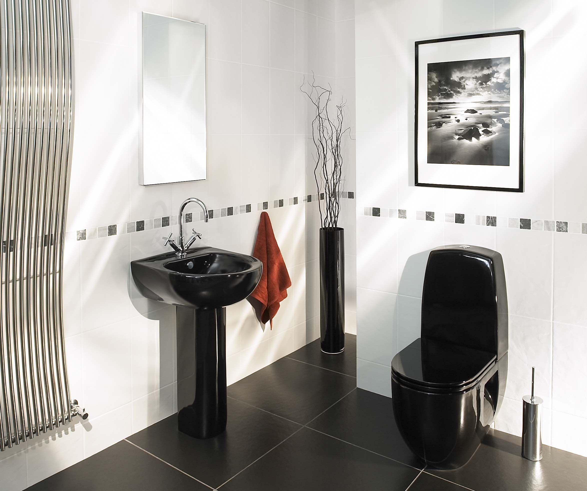 Cool Modern Bathroom With Black Furnish Stylendesignscom - Black modern bathroom toilet