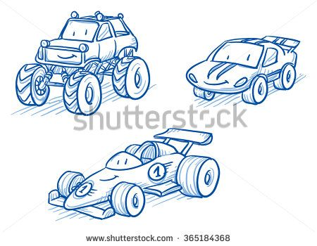 Cute Set Of Vehicles Racing Cars Monster Truck Hand Drawn Vector Cartoon Doodle Illustration Stock Vector Cuteness Car Sketch How To Draw Hands Dood