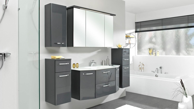 Deckenbeleuchtung Badezimmer ~ Pelipal badezimmer velo in anthrazit hochglanz inkl. led