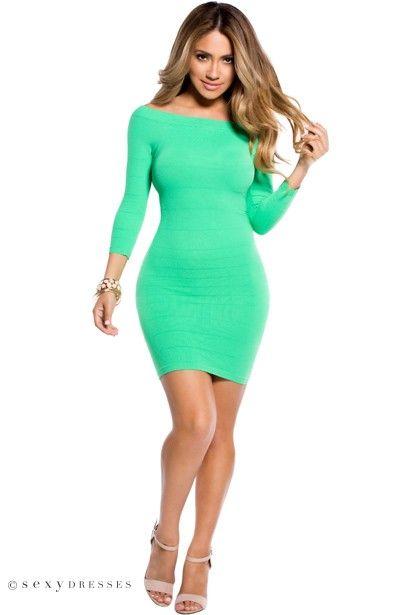 """""""Amara"""" Kelly Green 3/4 Sleeve Off Shoulder Bodycon Mini Dress"""