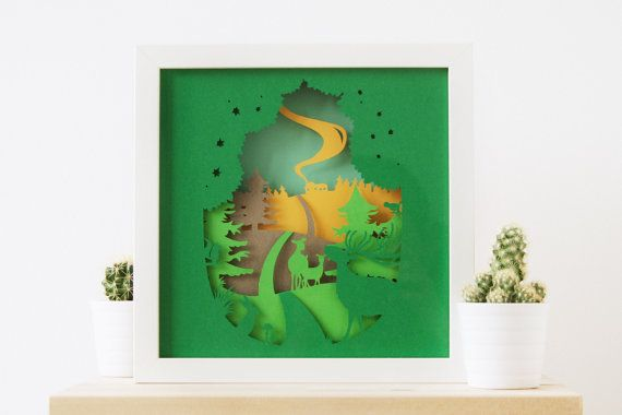 Paper sculpture / Paper Art / Paper Cut 3D paper diorama (shadow box) of Oh Deer. Great house warming gift, to brighten up a baby room or just to
