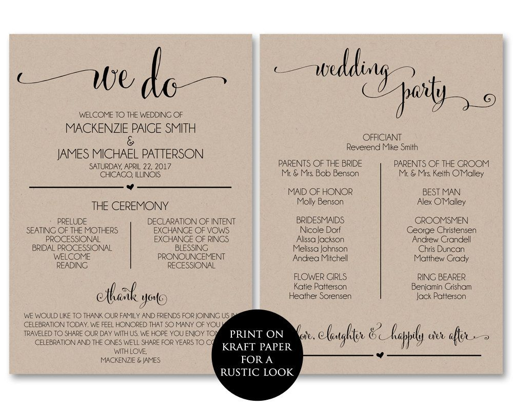 Purchase This Listing To Instantly Download Edit And Print Your Own Double Printable Wedding Programs Wedding Program Template Free Ceremony Program Template