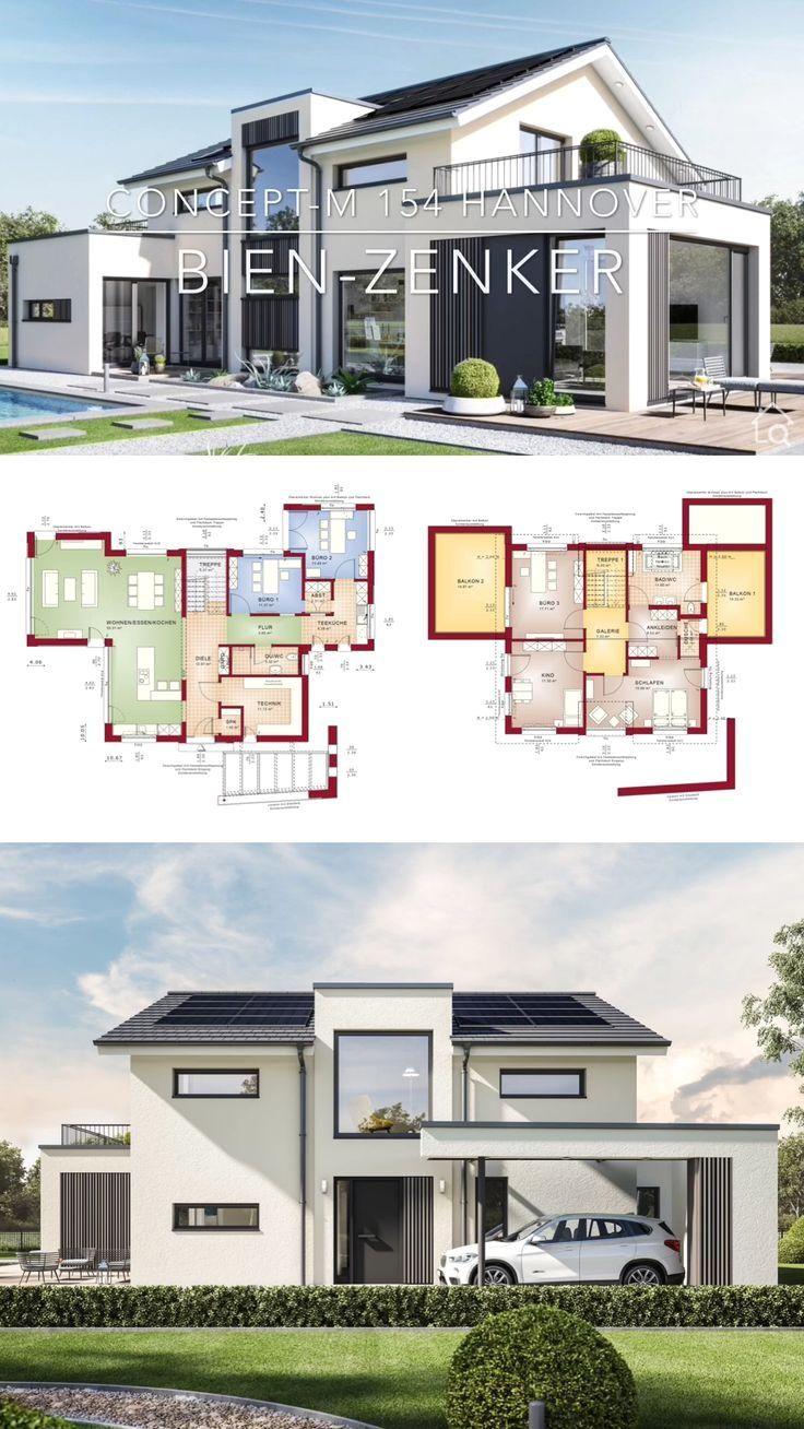 Neubau Modern Br Einfamilienhaus Neubau Modern Mit Satteldach Bauen Fertighaus Haus Grundris In 2020 House Construction Plan Architecture House Modern House Plans