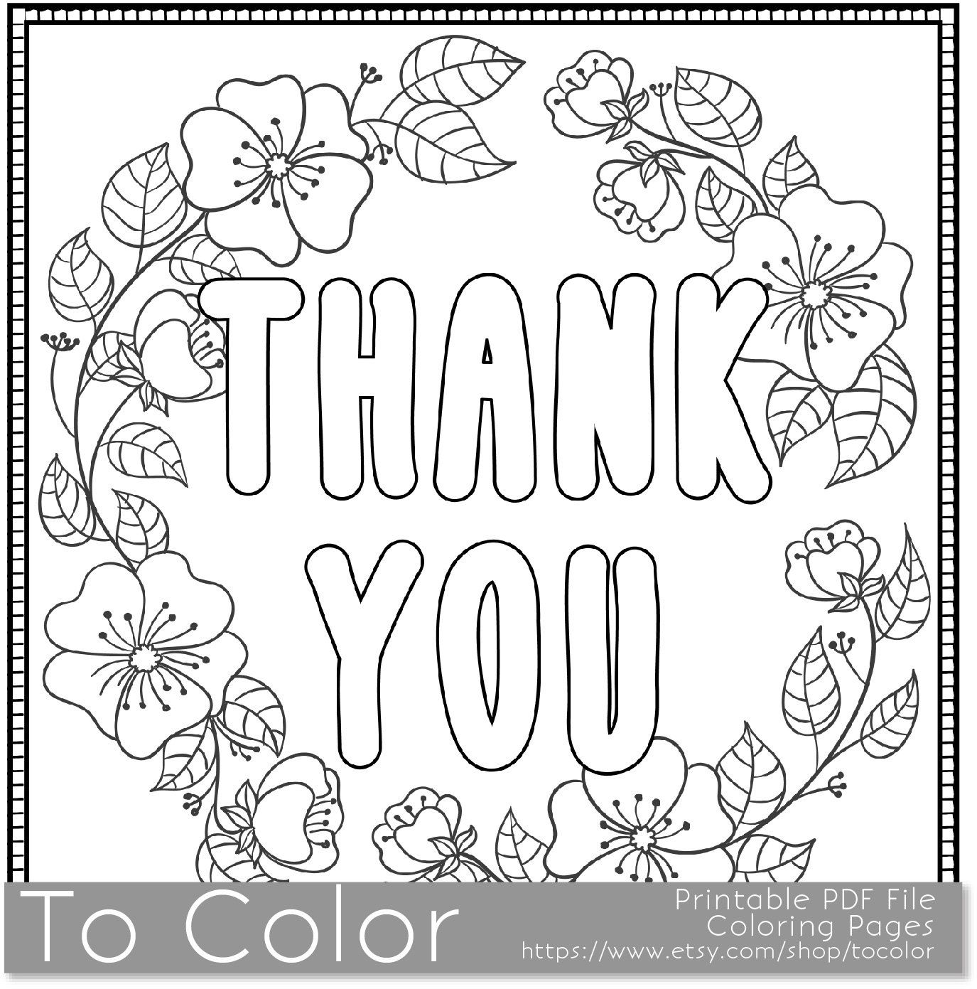 Thank You Printable Coloring Page For Adults Pdf Jpg Instant