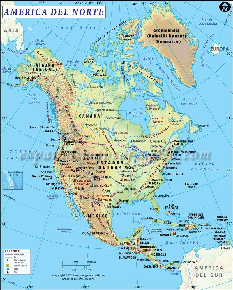 Mapa Politico De America Del Norte.Mapa De America Del Norte Mapa De America Del Sur America