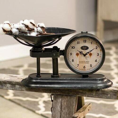 Rustic Distressed Farmhouse Style Small Kitchen Scale Clock Desk Mantel Shelf