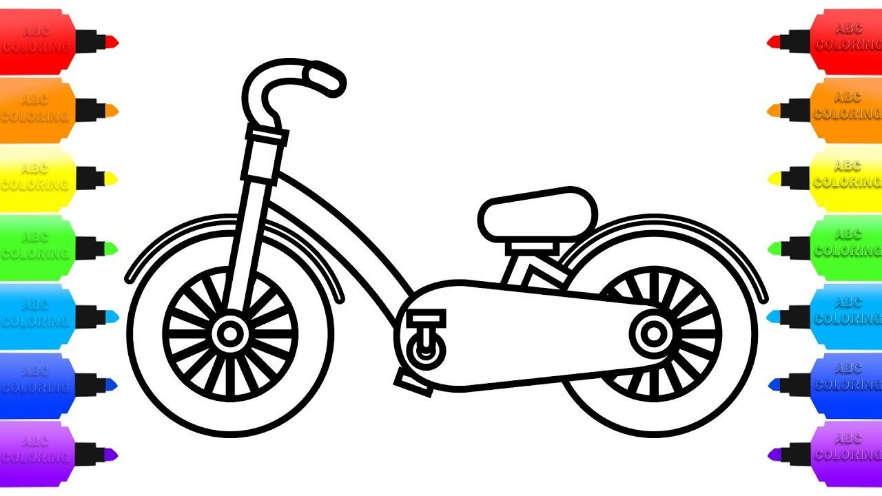 How To Draw Bicycle For Kids Coloring Pages Videos Learn Colors Childrens Coloring For Kids Coloring Pages For Kids Learning Colors