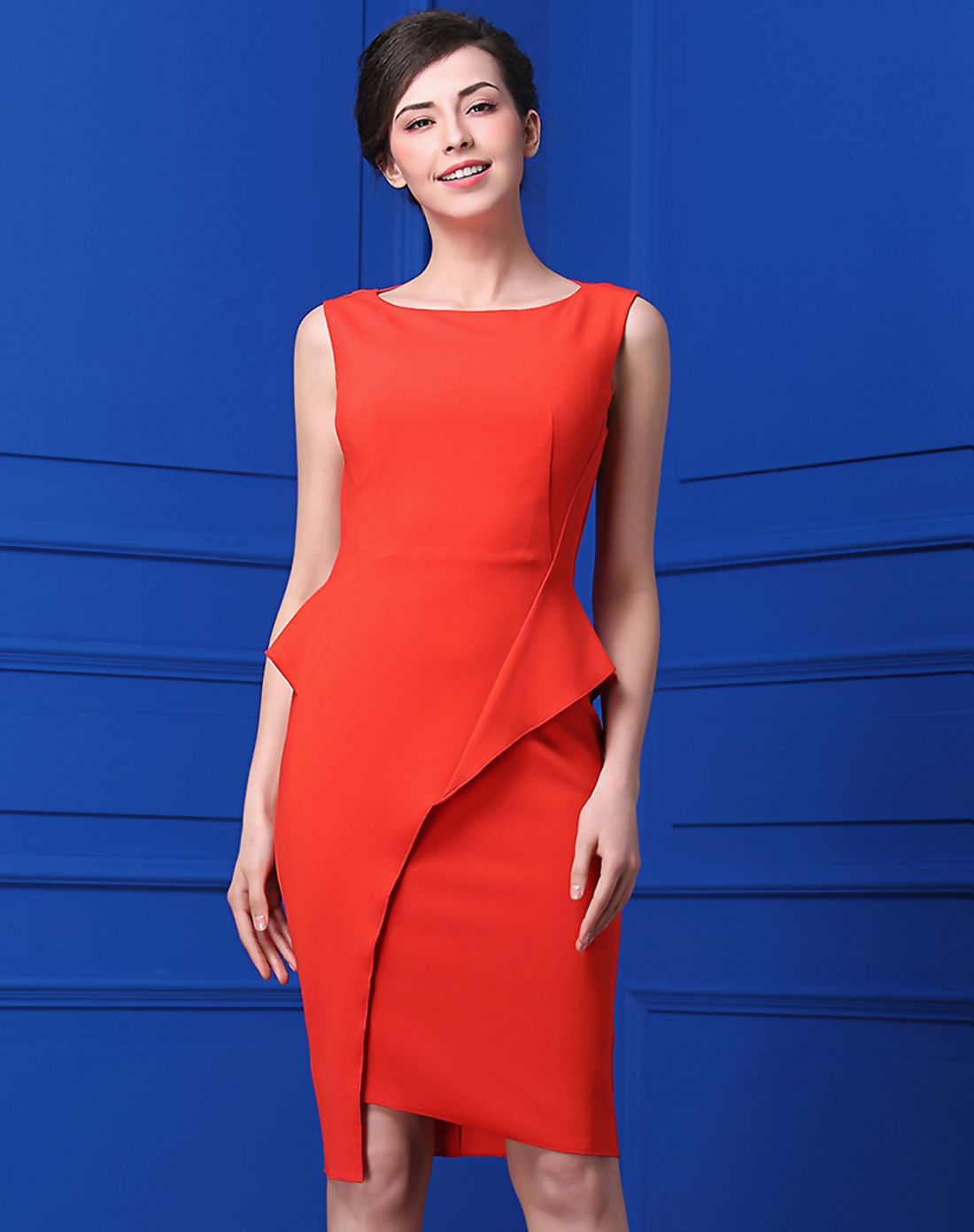 #AdoreWe #VIPme Sheath Dresses❤️Designer BAOYAN Orange Plain Sheath Elegant Sleeveless Asymmetrical Dress - AdoreWe.com