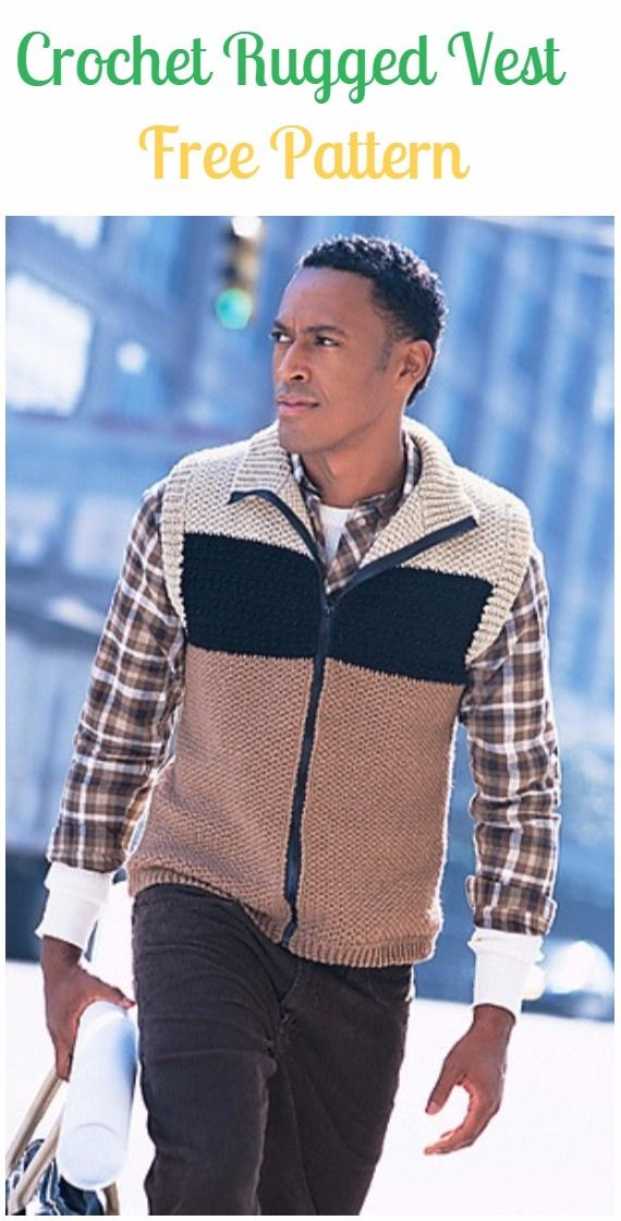 Crochet Rugged Vest Free Pattern - Crochet Men Sweater Free Patterns ...