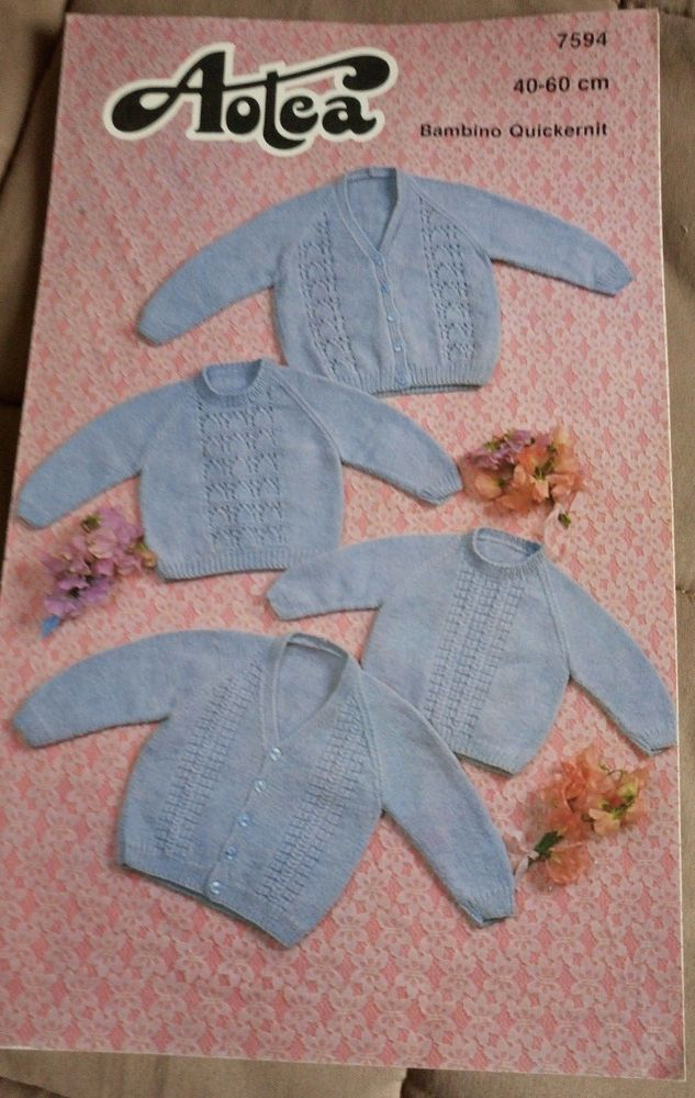 ca068c64e Baby Cardigan   Sweater Aotea 7594 vintage knitting pattern ...